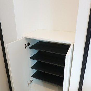 靴箱は1段に2足ほど入る大きさ。靴箱の上は鍵置き場などに。