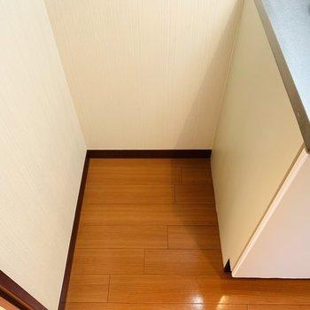 その左側には冷蔵庫置き場。
