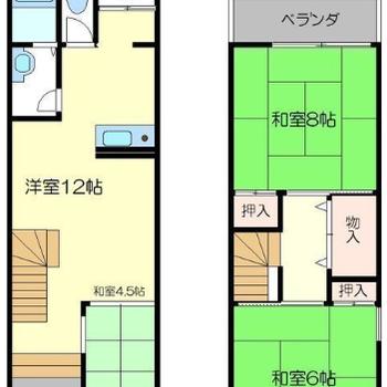 1階は小上がりの和室も合わせるとけっこう広いです。