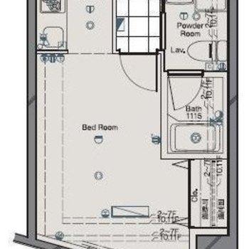 バルコニー側は斜めになっているお部屋。