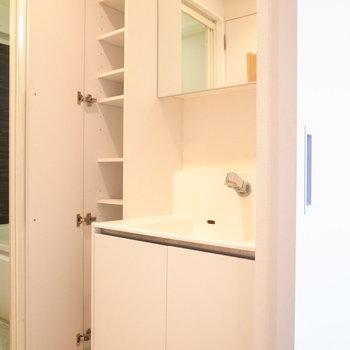 シンプルな洗面台と、その左となりには便利な棚がありますよ。