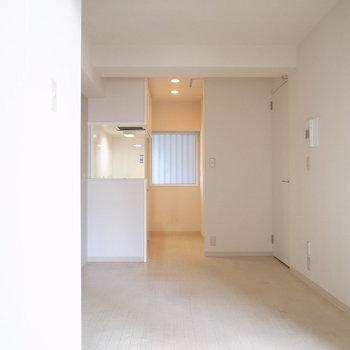 ベランダ側から。キッチンで光るダウンライトがなんだかかわいらしい。写真左に映った白いものは…