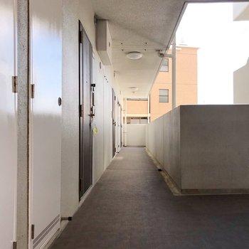 共用廊下もスッキリ清掃されていて気持ちいい
