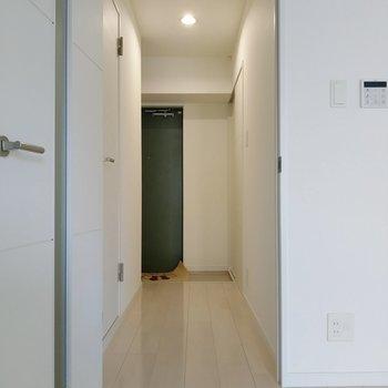 明るい廊下にサニタリーがあります。左手前の扉がトイレ。玄関横に脱衣所。 (※写真は9階の同間取り別部屋のものです)