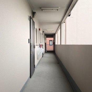 共用廊下も外に面しています。左側には、このお部屋のみでした!