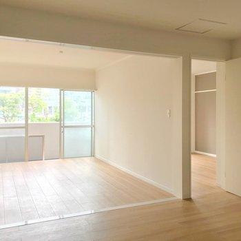 リビングとして使うなら左側の洋室かな。