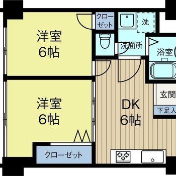 2人暮らしにも、事務所使用にもちょうどいい広さの2DK。