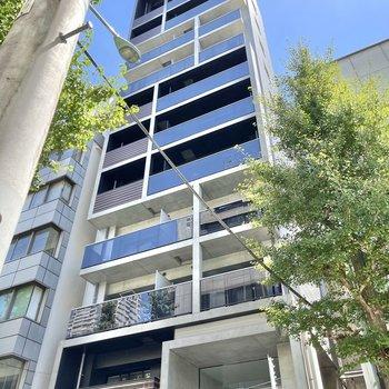 コンクリート打ちっぱなしの外装が特徴的な鉄筋コンクリート造の建物。