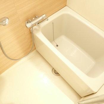 このお風呂の色合い好きだなあ。鏡はお好みのものをご用意くださいね。