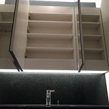 洗面鏡の奥も実は収納スペースとなってます。(※写真は4階同間取り別部屋のものです)