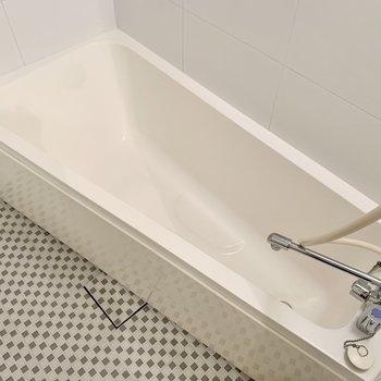 浴槽はほっそりとしたカタチですね。