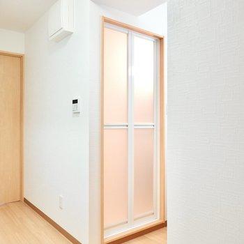 脱衣所はありませんが突っ張り棒でカーテンを引いて簡易的な脱衣スペースにできそう。