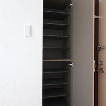 靴箱も備え付き。1段に2足ほど入る大きさで天井近くまで高さがあります。