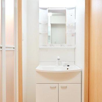 洗面台はキッチンの背面側に。便利な棚もシャンプードレッサーも付いています。