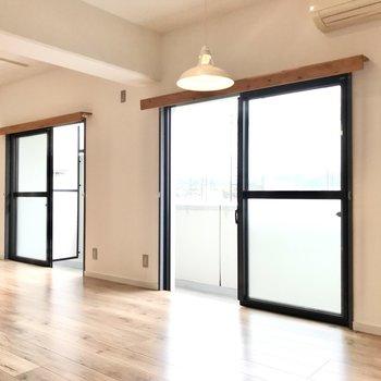 大きな窓が2つ並び。南東向きで明るい空間♩