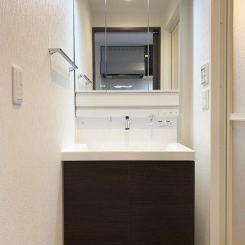 シャワーヘッド付の洗面化粧台。(※写真は8階の反転間取り別部屋のものです)
