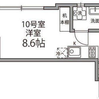 約8.6帖の居室がある1Rタイプ。