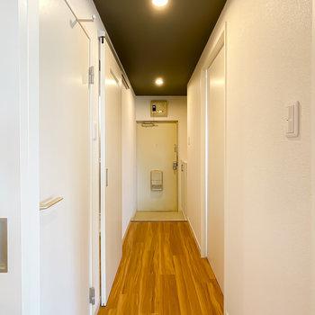 廊下も明るく印象的にリノベーション!その他の水回りは左側にまとまっています。