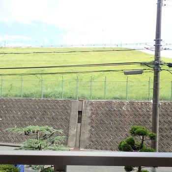 丘のようなところは配水場!みどりの草と青空が良い眺めです。