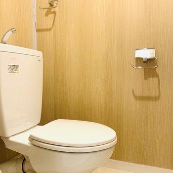 ブラウンの壁が落ち着くお手洗い。ウォシュレットは後付け可能です。