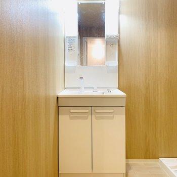 ユーティリティーも広々としたスペースで、左側には洗面台。