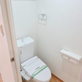 トイレはウォシュレット付き。収納棚もありますよ。