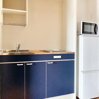 冷蔵庫スペースがあるのは、うれしいポイント。 ※4階の類似間取り別室の写真です。