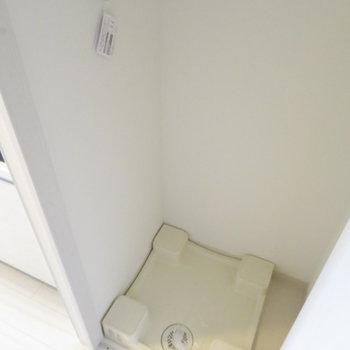 廊下の扉を開けば洗濯機置き場が。(※写真は7階の同間取り別部屋のものです)