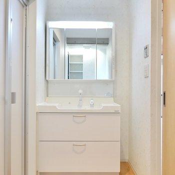 入って右側には洗面台。鏡の裏が収納になっており、右側にも収納を置けるスペースがあります。