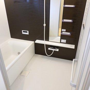 お風呂もかなり広め。洗い場だけで平均的な賃貸のお風呂ほどあります。