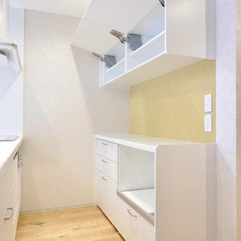背面側には家電置き場になるキャビネット。収集した食器たちを大事に収納しておけます。