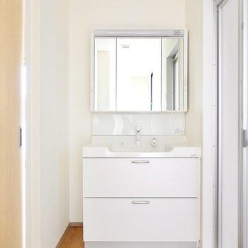 入って左側には洗面台。鏡の裏が収納になっており、左側にも収納を置けるスペースがあります。