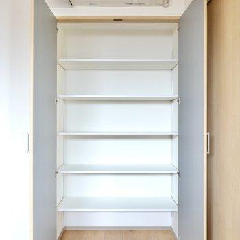 ドア側の収納は可動棚。アクセサリーなどの細々とした物やカバンなど身の回り品はこちらに。
