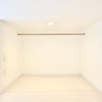 登って左側はハンガーパイプのある収納スペース。寝室にするなら、普段着収納にピッタリですね。(※写真は2階の同間取り別部屋のものです)