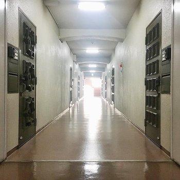 【共有部】廊下の幅が広いです!両端に階段があります。