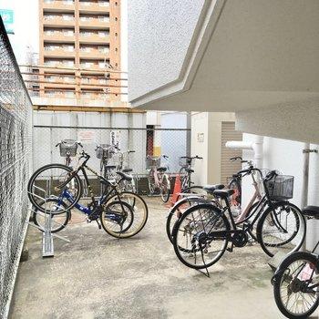 自転車置き場がありました。屋根はついていません。空き状況はご確認を!