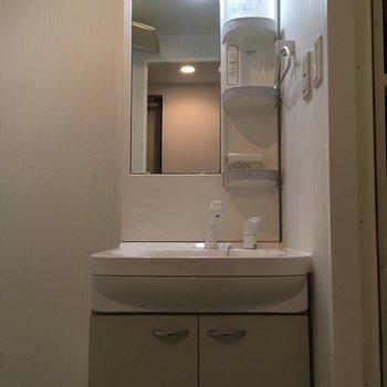 すらっとした洗面台です(※写真は4階の同間取り別部屋のものです)