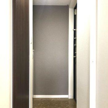 玄関は一般的な広さかな。(※写真は7階の同間取り別部屋のものです)