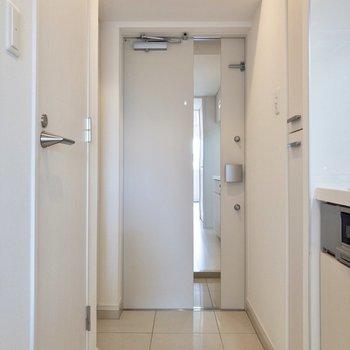 フラットな玄関で愛犬にも優しい。※写真は3階の反転間取り別部屋のものです