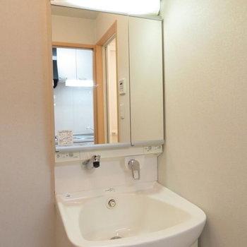 2面鏡の洗面台ですね※写真は同間取り別部屋のものです