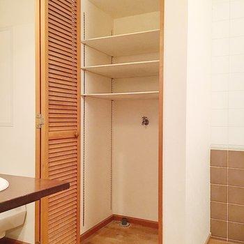 洗濯機は扉で隠せたり可動式の棚が付いていますよ。