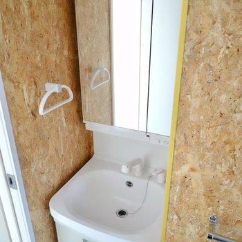 鏡の大きな洗面台は裏が収納になっているので生活感が出にくいですよ!