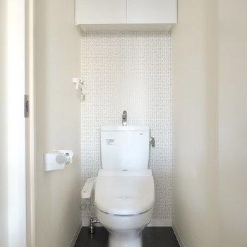 トイレはウォシュレット付き。収納付きで見た目もスッキリ。
