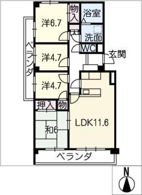 瑞穂公園パークマンション201号室の間取り