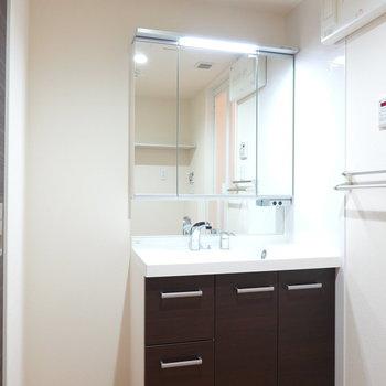 一面が鏡の大きな洗面台で身だしなみが整えやすそう。収納が置けるスペースも!
