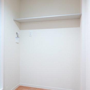 反対側は洗濯機置き場。棚もあるのでクローゼット代わりにもなりそう。