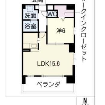 お部屋は1LDKの間取りです。