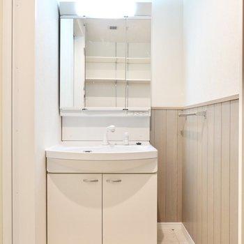 入って右手には鏡の大きな洗面台。身支度が捗りそう。