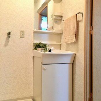 洗面台はコンパクト。(※写真は8階の反転間取り別部屋、モデルルームのものです)
