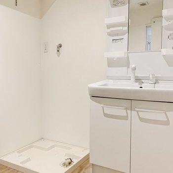 脱衣所はきゅっとひとまとめ。独立洗面台と洗濯機置き場があって、